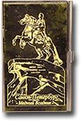 Визитница карманная с гравировкой из змеевика односторонняя