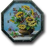 """Часы """"Восьмигранник №3,5 - Цветы"""" с рисунком 350х350х30мм"""