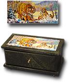 Шкатулка из змеевика с выдвижным ящиком, с рисунком