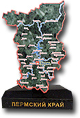 """Сувенир """"Карта Пермского края"""" на подставке"""