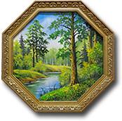 """Панно из дерева """"Багет"""" восьмигранное с рисунком"""