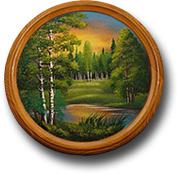 Тарелка деревянная с рисунком ТД-50