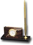 Визитница из яшмы и долерита с часами и  ручкой