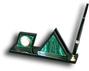"""Визитница """"Треугольник""""(часы+ручка) (малахит, долерит)"""