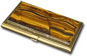 Визитница карманная из тигрового глаза (одностороняя) 95х60х12 м