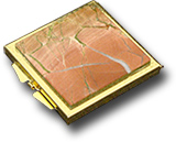 Зеркало карманное из яшмы (двухстороннее) 60х70х10 мм