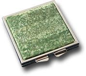 Зеркало карманное из жадеита (двухстороннее) 60х70х10 мм