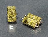 Гарнитур серьги+кольцо змеевик, мельхиор 30х15 мм
