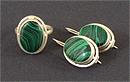 Гарнитур серьги, кольцо из малахита (имитация)