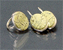 Гарнитур серьги+кольцо змеевик, мельхиор  25х20 мм