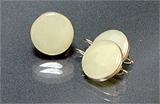 Гарнитур серьги+кольцо нефрит, мельхиор Д-25 мм