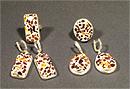 Гарнитур серьги и кольцо (янтарь) мозаика