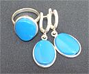 Гарнитур серьги и кольцо (бирюза)