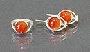 Гарнитур серьги+и кольцо сердолик, мельхиор
