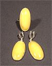 Гарнитур серьги и кольцо (янтарь молочный)