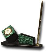 Письменный прибор из малахита и долерита