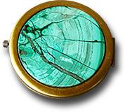 Зеркало карманное из малахита