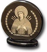 """Икона подставке  """"Семистрельная"""" из обсидиана Д-60 мм"""
