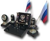 """Письменный прибор """"Россия"""" (долерит, яшма)"""