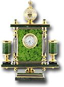 Часы с гравюрой на металле камень - нефрит